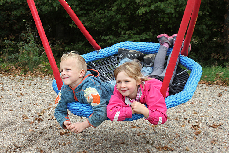 Sensory swing with two children